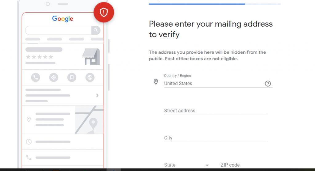 Entering your info to verify your business in Google Business