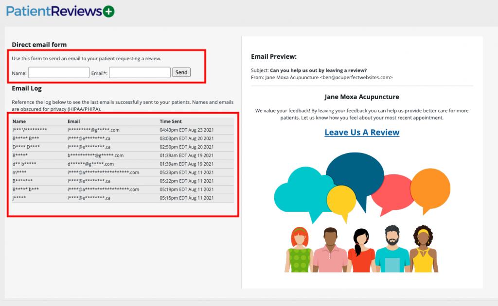 patient reviews plus email form