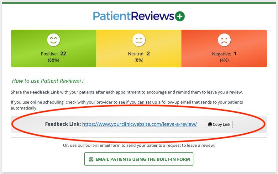 patient reviews plus dashboard link location